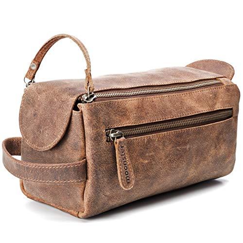Kulturbeutel / Kulturtasche für Herren von moonster   Handgemachtes Necessaire aus echtem Leder   Robuste, kompakte und praktische Reise-Waschtasche mit Fächern u. großem Stauraum