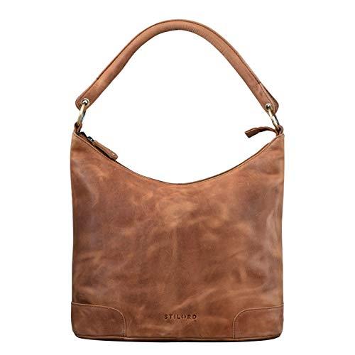 STILORD 'Tessa' Handtasche Damen Leder Groß Shopper Ledertasche Hobo Tasche Elegante Vintage Schultertasche Tote Bag aus Echtem Leder, Farbe:taranto – braun