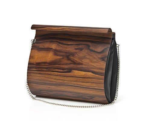 Embawo Clutch Handtasche Damen BENEDETTA aus echtem italienischem Leder in dunkelbrauner Farbe und echtem Palissanderholz – Handgemachte Qualität Made in Südtirol