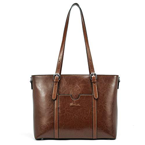BOSTANTEN Damen Ledertaschen Schultertasche Frauen Designer Handtasche 14 15.6 Zoll Laptoptasche Tote Bag Dunkel Braun