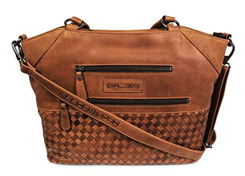 Hill Burry Damen Shopper | aus weichem hochwertigem Rindsleder – Vintage Elegante Fashion Bag Beutel | Umhängetaschen Schulterbeutel – Abendtasche | Handtasche – Schultertasche (Braun)