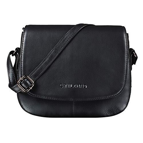 STILORD 'Savannah' Umhängetasche Damen Leder Handtasche kleine Schultertasche Crossbody Bag Ausgehtasche Partytasche Echtleder, Farbe:schwarz