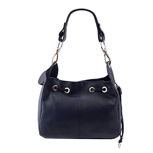 SH Leder Echtleder Schultertasche Handtasche Genarbt Leder 31x25cm Anna G488 (Dunkel Blau)