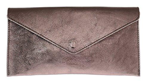 Girly Handbags Echtes Leder Italienisch Metallic-Clutch – Dark BronzeDark Bronze