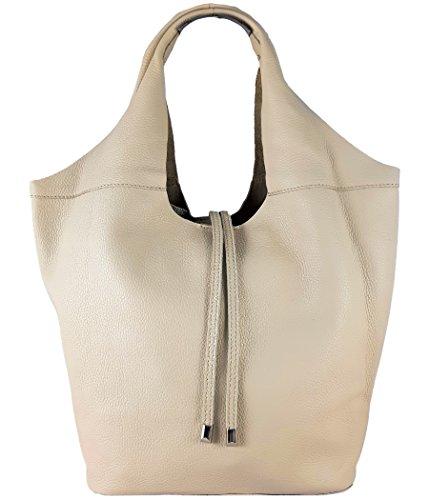 Freyday Echtleder Shopper mit Schmucktasche in vielen Farben Schultertasche Damen Henkeltasche (Beige)