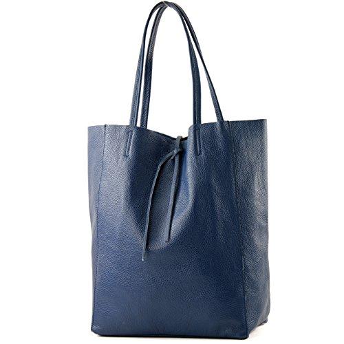 modamoda de – T163 – Ital. Shopper Large mit Innentasche aus Leder, Farbe:Saphirblau
