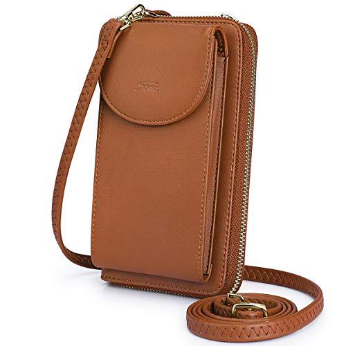 S-ZONE Damen Handy-Umhängetasche PU Leder RFID Blockierung Handytasche Geldbörse mit Kartenfächer Verstellbar Abnehmbar Schultergurt Passt Handy unter 6,5