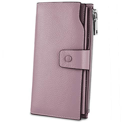 YALUXE Geldbörse Echtleder Damen Wristlet Wallet Clutch für Frauen 21 Kartensteckplätze Telefon Umschlag Reißverschluss Münzfach Lichtlila