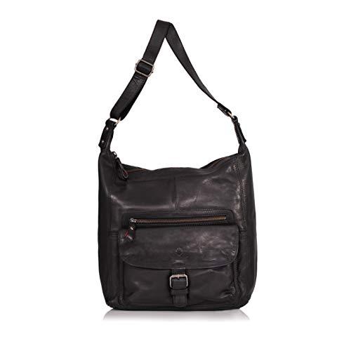DONBOLSO® Handtasche Paris I Damenhandtasche aus Nappaleder I Vintage Umhängetasche I Schultertasche mit Schlüsselband I Schwarz