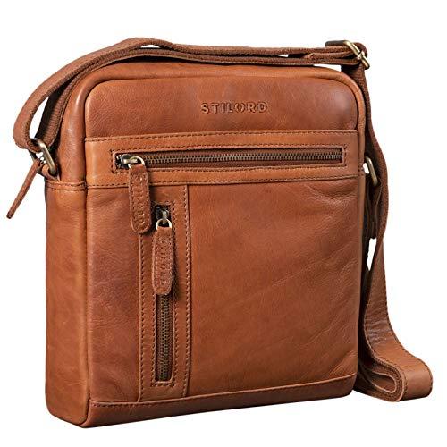STILORD 'Vince' Echtleder Umhängetasche Herren Kleine Vintage Schultertasche für 10,1 Zoll Tablets Herrentasche aus Echtem Leder, Farbe:girona – braun