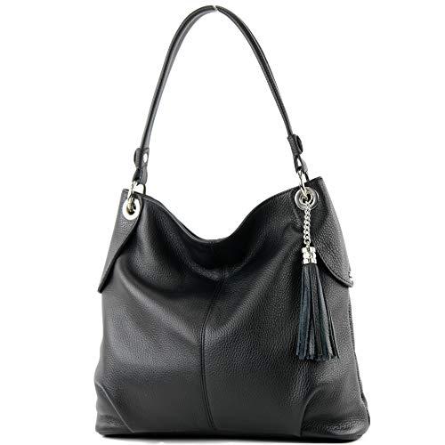 modamoda de – T185 – ital. Damen Schultertasche aus Leder, Farbe:Schwarz