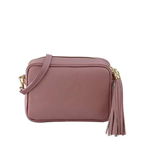 SH Leder Echtleder Umhängetasche mittel kleine Tasche Abendtasche Clutch Crossbody Bag Messenger Handtasche mit Reißverschluss 21x15cm Chiara G209 (Altrosa)