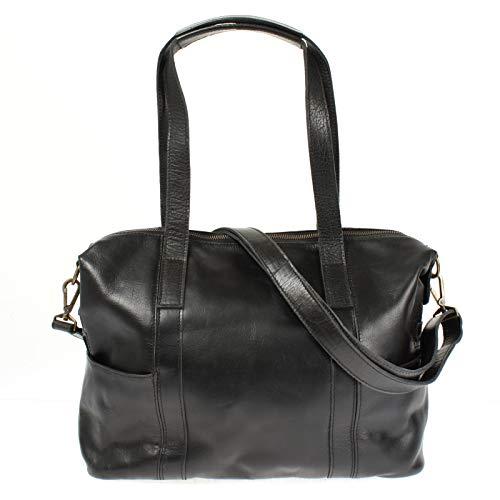 LECONI Shopper Vintage-Look Damen Henkeltasche Schultertasche Echt-Leder Natur Damentasche Ledertasche Umhängetasche Handtasche Leder 37x28x15cm schwarz LE0061-buf