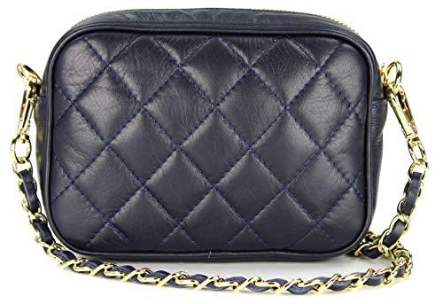 Belli italienische Echt Nappa Leder Abendtasche Damentasche kleine Umhängetasche zum Ausgehen gesteppt in blau blu – 18x13x7 cm (B x H x T)