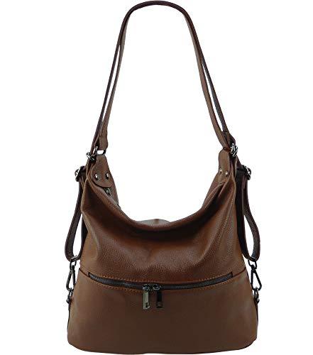 Freyday 2in1 Rucksackhandtasche Designer Damen Handtasche Henkeltasche 100% Echtleder (Braun)
