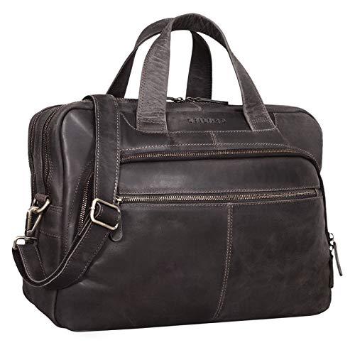 STILORD 'Lias' Umhängetasche Leder Herren Vintage 15,6 Zoll Businesstasche Laptoptasche groß Arbeit Büro Uni Antik Leder, Farbe:dunkel – braun