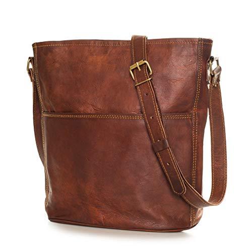 Nama 'Isabell' Ümhängetasche Shopper Echtes Leder Handtasche für Damen Vintage Look Beutel Tasche Schultertasche Multitasche Naturleder Braun