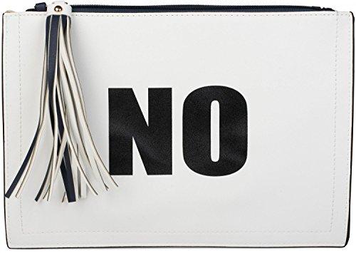 styleBREAKER Clutch mit 'YES' und 'NO' Print, Quasten Anhänger am Reißverschluss, Armschlaufe und Umhängegurt, Damen 02012078, Farbe:Weiß/Dunkelblau