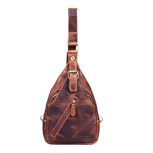 STILORD 'Odysseus' Vintage Brusttasche Leder Herren Damen Vintage Umhängetasche Sling Rucksack Daypack Schultertasche Echtleder, Farbe:Kara – Cognac