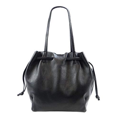SH Leder ® Damen Echtleder Shopper mit Schnürung zum zusamen ziehen mit Innentasche in vielen Farben Schultertasche Henkeltasche Andrea G2520 (Schwarz)