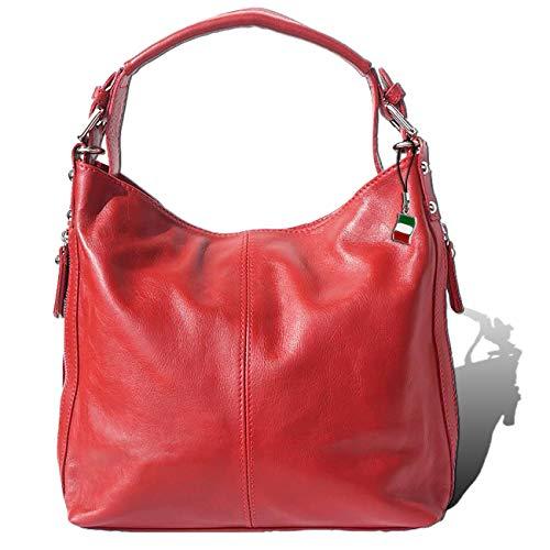 Florence Hobo Bag Echt-Leder Tasche Damen Beuteltasche rot 35x10x28 inklusive Feenanhänger D1OTF101R Leder Tasche von Florence für die Frau