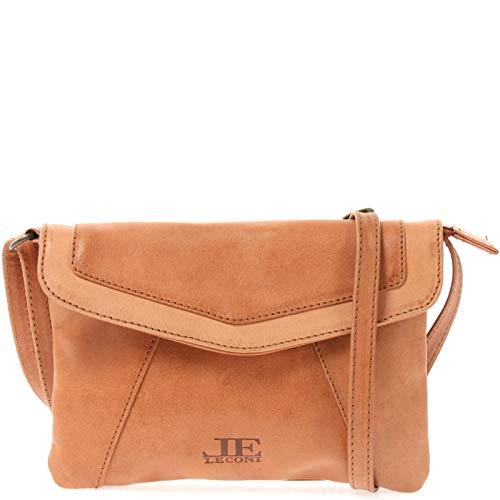 LECONI kleine Umhängetasche Damen-Tasche Clutch Crossbag Natur Mini Schultertasche Vintage-Look Ledertasche Frauen Handtasche aus Echt-Leder 21x16x3cm cognac LE3074-P