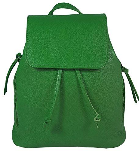 Ital. Echtleder Damen Rucksack Leichter Tagesrucksack Daypack Lederrucksack Damenrucksack versch. Farben erhältlich (Grün)