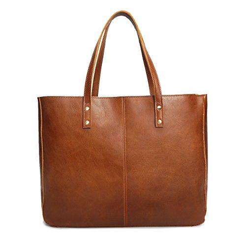 Neuleben Vintage Damen Handtasche echtem Leder Shopper Schultertasche Umhängetasche Ledertasche (Braun)