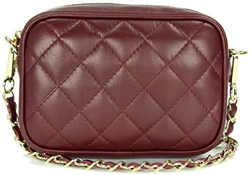 Belli italienische Echt Nappa Leder Abendtasche Damentasche kleine Umhängetasche zum Ausgehen gesteppt in bordeaux bordó – 18x13x7 cm (B x H x T)