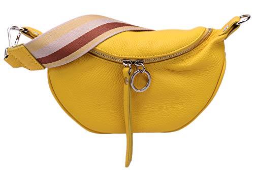 SH Leder echt Leder Damen Brusttasche für Festival Reise Kleine Hüfttasche Crossbody Frauen mit stoff Taschengurt 25x13cm Ella G498 (Gelbe)