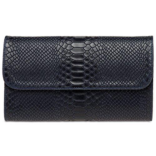 Caspar TL722 Damen echt Leder Clutch Tasche Abendtasche mit Kroko Prägung, Farbe:dunkelblau, Größe:One Size