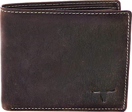 Leder Geldbörse Herren Damen Portemonnaie Leder Lederbörse Echt-Leder Querformat Leder Portemonnaie Börse Brieftasche von URBAN FOREST 11×9,5×1,5 (B x H x T), Farbe: Dunkelbraun. Braun
