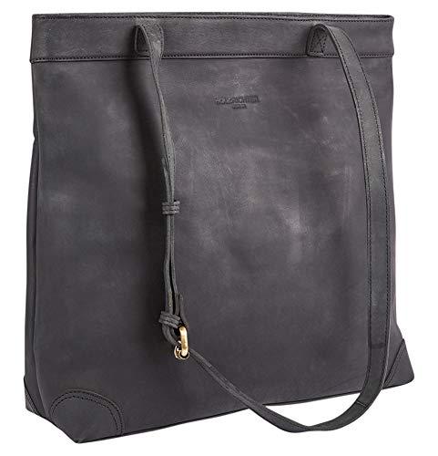 HOLZRICHTER Berlin Shopper No 1-1 (M) schwarz-anthrazit – Damen Handtasche & Umhängetasche mit Henkel handgefertigt aus Premium-Leder