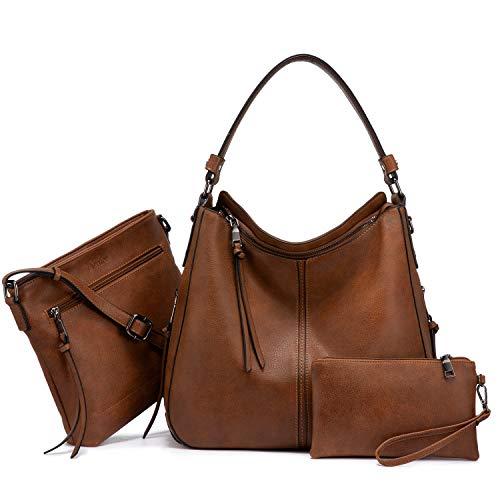 Realer Damen Handtaschen Groß Shopper Lederhandtasche Schultertasche Umhängetasche Geldbörse Hobo Damen Taschen Set für Büro Schule Einkauf Reise 3pcs Braun