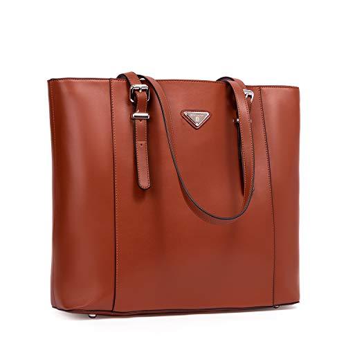 BOSTANTEN Damen Leder Handtaschen Groß Shopper 15 Zoll Laptoptasche Schultertasche Aktentasche für Büro Braun