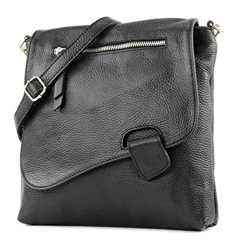 modamoda de – ital Messenger-/Umhängetasche aus Leder T146, Schwarz, siehe Beschreibung