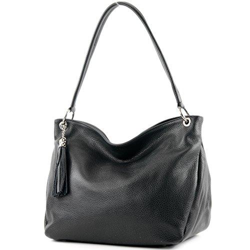 modamoda de – T154 – ital Schultertasche Umhängetasche aus Leder, Farbe:Schwarz