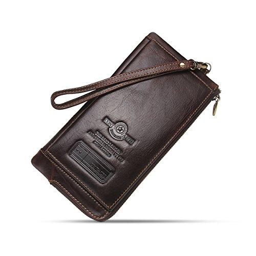 Contacts RFID Herren echtes Leder Kreditkarte Reißverschluss Tasche Telefonhalter Clutch Geldbörse Lange Geldbörse (Dunkler Kaffee)