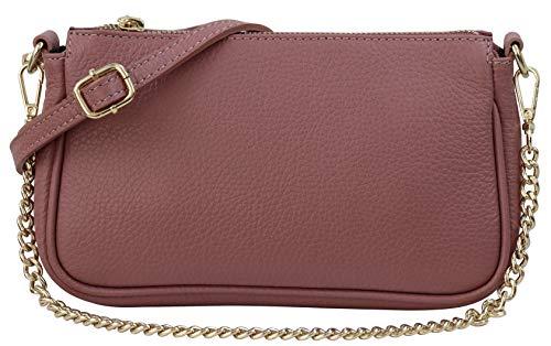 SH Leder Echtleder Umhängetasche Schultertasche Handtaschen Clutch kleine Abendtasche Goldfarbene Metallbeschläge 23x13cm Larisa G324 (Altrosa)