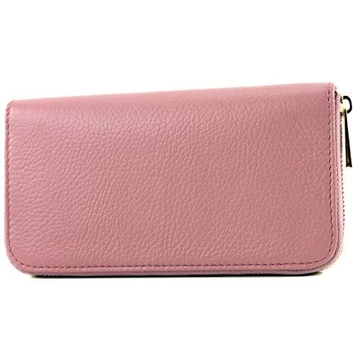 modamoda de – P02 – ital. Damen Portemonnaie Echtleder lang, Farbe:P02 Altrosa