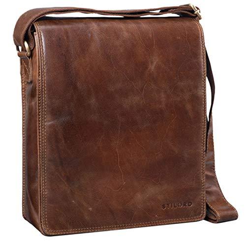 STILORD 'Lars' Vintage Umhängetasche Leder Herren für 13,3 Zoll Tablet MacBooks und iPad Schultertasche Herrentasche Messenger Bag Echtleder, Farbe:antik – braun