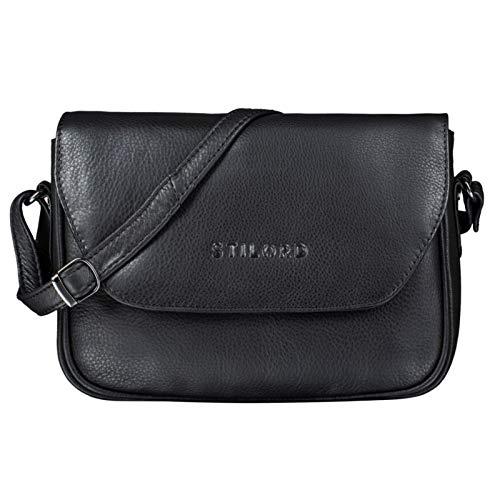 STILORD 'Esther' Damen Handtasche Umhängetasche Echtleder Vintage Ledertasche zum Ausgehen Klassische Abendtasche Partytasche Freizeittasche Leder, Farbe:schwarz