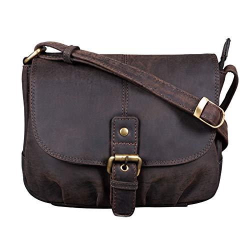 STILORD 'Iris' Leder Handtasche Damen klein Vintage Umhängetasche zum Ausgehen Klassische Abendtasche Partytasche Freizeittasche Echtleder, Farbe:dunkel – braun