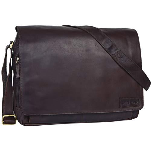 STILORD 'Rick' Schultertasche Leder für 15,6 Zoll Laptop Umhängetasche Aktentasche Bürotasche Unitasche Büffel-Leder, Farbe:Ebenholz – braun