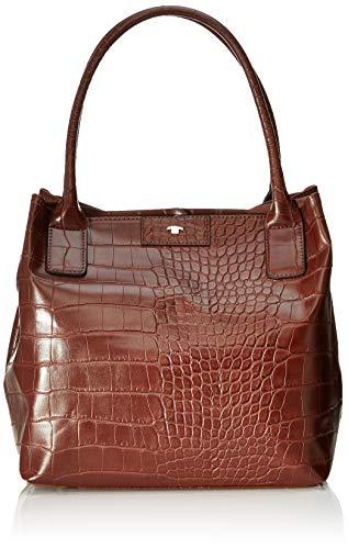 TOM TAILOR Shopper Damen, Miri Croc, Braun (Brown), 36x28x17.5 cm, TOM TAILOR Schultertasche, Handtaschen Damen