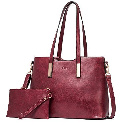 CLUCI Handtasche Damen Gross Tasche Shopper für Damen PU Leder Tote Groß Mode Frauen Schultertasche Businesstasche Reisetasche mit Innentasche Taschen Set Wein Rot