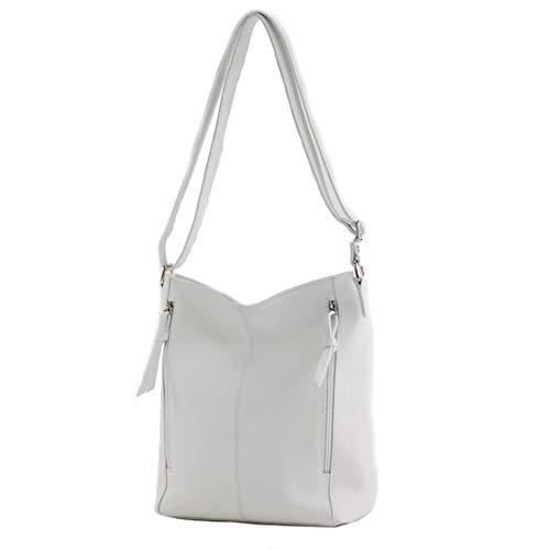 modamoda de – T195 – ital Umhängetasche Schultertasche aus Leder, Farbe:Weiß