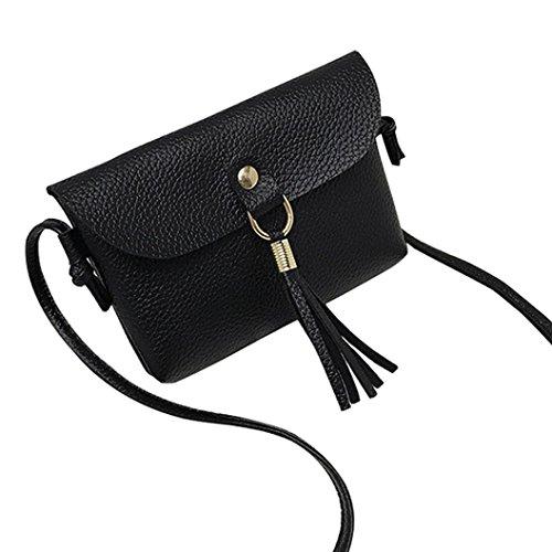Hirolan Frauen Handtasche Mode Tasche Jahrgang Handtasche Klein Mini-Messenger-Quaste Schultertaschen Sling Schulter Rucksäcke für Schule Reisen Radfahren Wandern (Schwarz)