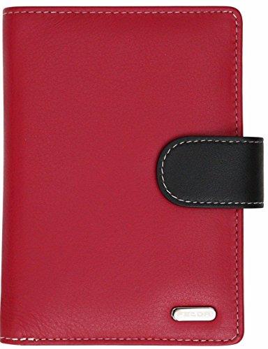 Felda – Damen Geldbörse mit 23 Kartenfächern & Münzfach – RFID-Blocker – aus Echtleder – groß – Rot Mehrfarbig
