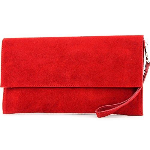 modamoda de – T151/M151 – ital. Clutch Wildleder/Leder Metallic, Farbe:Rot